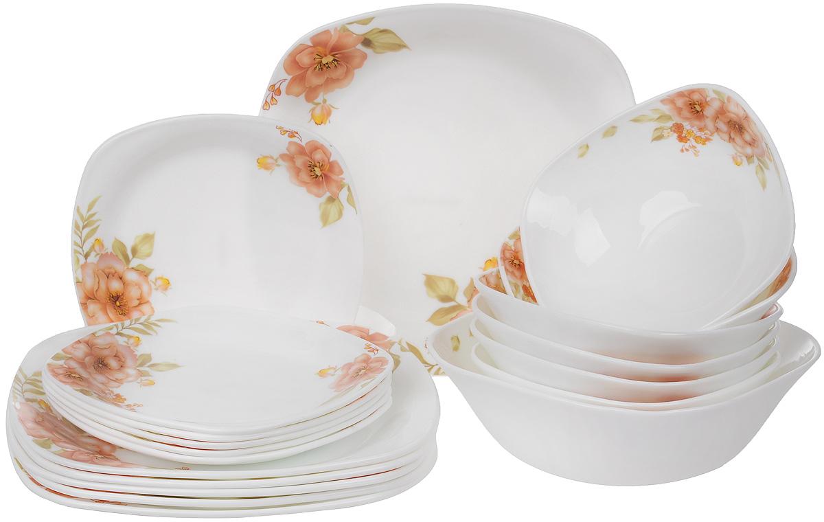 """Столовый набор """"Mayer & Boch"""" состоит из шести суповых тарелок, шести десертных тарелок, шести обеденных тарелок и одного  салатника. Предметы набора выполнены из стекла, благодаря чему посуда будет использоваться очень долго, при этом сохраняя свой  внешний вид. Набор создаст отличное настроение во время обеда, будет уместен на любой кухне и понравится каждой хозяйке.  Красочное оформление предметов набора придает ему оригинальность и торжественность.  Практичный и современный дизайн делает набор довольно простым и удобным в эксплуатации. Предметы набора можно мыть в посудомоечной машине, использовать в микроволновой печи и холодильнике. Размер суповой тарелки: 17,5 х 17,5 см. Высота стенок суповой тарелки: 6,5 см. Размер обеденной тарелки: 26,5 х 26,5 см. Высота обеденной тарелки: 2,5 см. Размер десертной тарелки: 19,5 х 19,5 см. Высота десертной тарелки: 2 см. Размер салатника: 22 х 22 см. Высота стенок салатника: 7,5 см."""