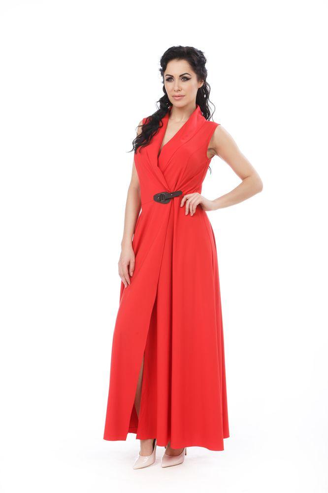 Платье Krisna Бастилия, цвет: темно-красный. Размер 50БастилияПлатье Krisna Бастилия выполнено из вискозы с добавлением эластана. Платье-макси с воротником-шалью имеет запах и застегивается хлястиком.
