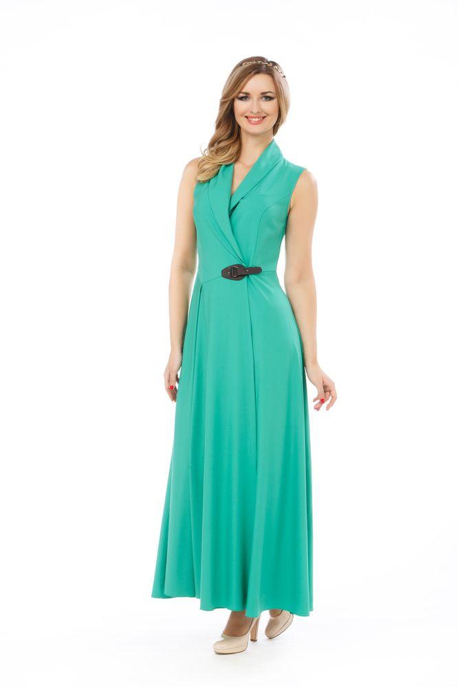 Платье Krisna Бастилия, цвет: зеленый. Размер 46БастилияПлатье Krisna Бастилия выполнено из вискозы с добавлением эластана. Платье-макси с воротником-шалью имеет запах и застегивается хлястиком.