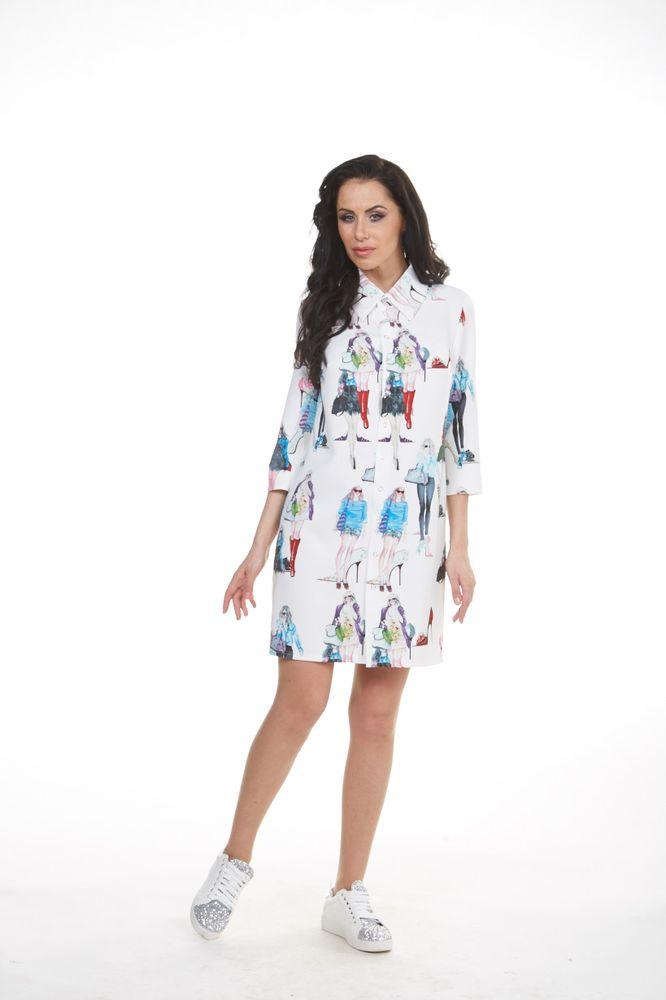 Платье Krisna Бенедикт, цвет: белый, мультиколор. Размер 48 krisna платье krisna kri ulana