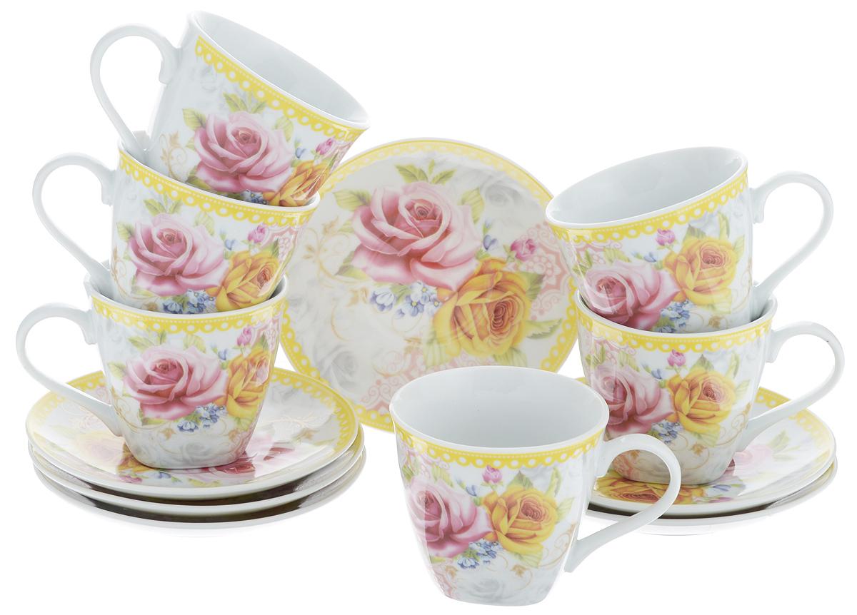 Набор чайный Loraine, 12 предметов. 2579325793Чайный набор Loraine состоит из шести чашек и шести блюдец. Изделия выполнены из высококачественного фарфора и оформлены красивым цветочным рисунком. Такой набор изящно дополнит сервировку стола к чаепитию. Благодаря изысканному дизайну и качеству исполнения, он станет замечательным подарком для ваших друзей и близких. Набор упакован в подарочную коробку. Объем чашки: 220 мл. Диаметр чашки по верхнему краю: 8,5 см. Высота чашки: 7,5 см. Диаметр блюдца: 14 см.Высота блюдца: 2,2 см.