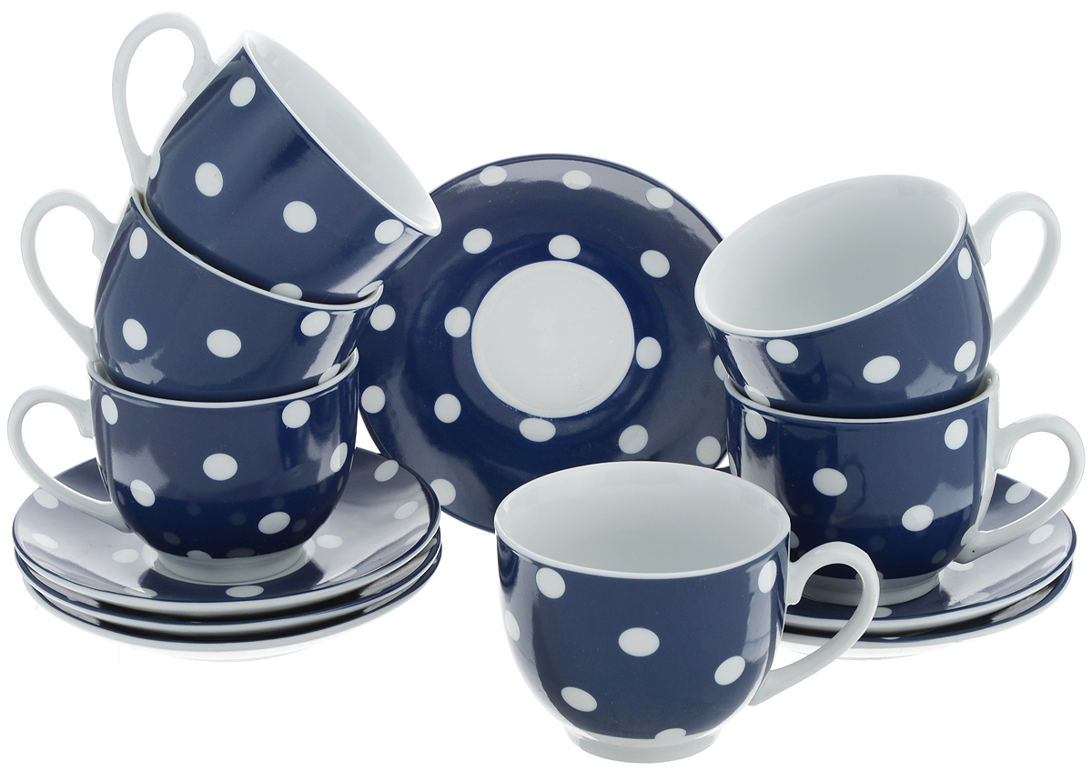 Набор чайный Loraine, цвет: белый, темно-синий, 12 предметов. 2590325903Чайный набор Loraine состоит из шести чашек и шести блюдец. Изделия выполнены из высококачественного фарфора и оформлены красивым принтом в горошек. Такой набор изящно дополнит сервировку стола к чаепитию. Благодаря оригинальному дизайну и качеству исполнения, он станет замечательным подарком для ваших друзей и близких. Объем чашки: 240 мл. Диаметр чашки по верхнему краю: 8,5 см. Высота чашки: 7 см. Диаметр блюдца: 14 см.Высота блюдца: 2,2 см.
