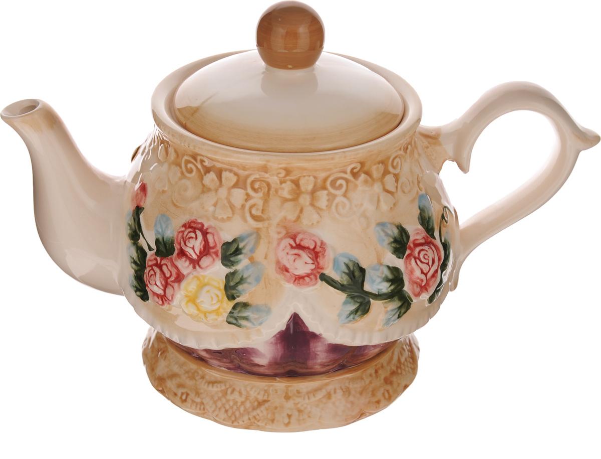 """Чайник заварочный """"Mayer & Boch"""" изготовлен из высококачественной керамики. Изделие декорировано ярким цветочным принтом. Носик чайника сверху покрыт золотистой эмалью. Чайник станет отличным дополнением к вашему кухонному инвентарю, а также украсит сервировку стола иподчеркнет прекрасный вкус хозяина. Можно использовать в посудомоечной машине.Может использоваться в микроволновой печи.Диаметр чайника (по верхнему краю): 8 см.Диаметр основания чайника: 10 см.Высота чайника (без учета крышки и ручки): 13 см."""
