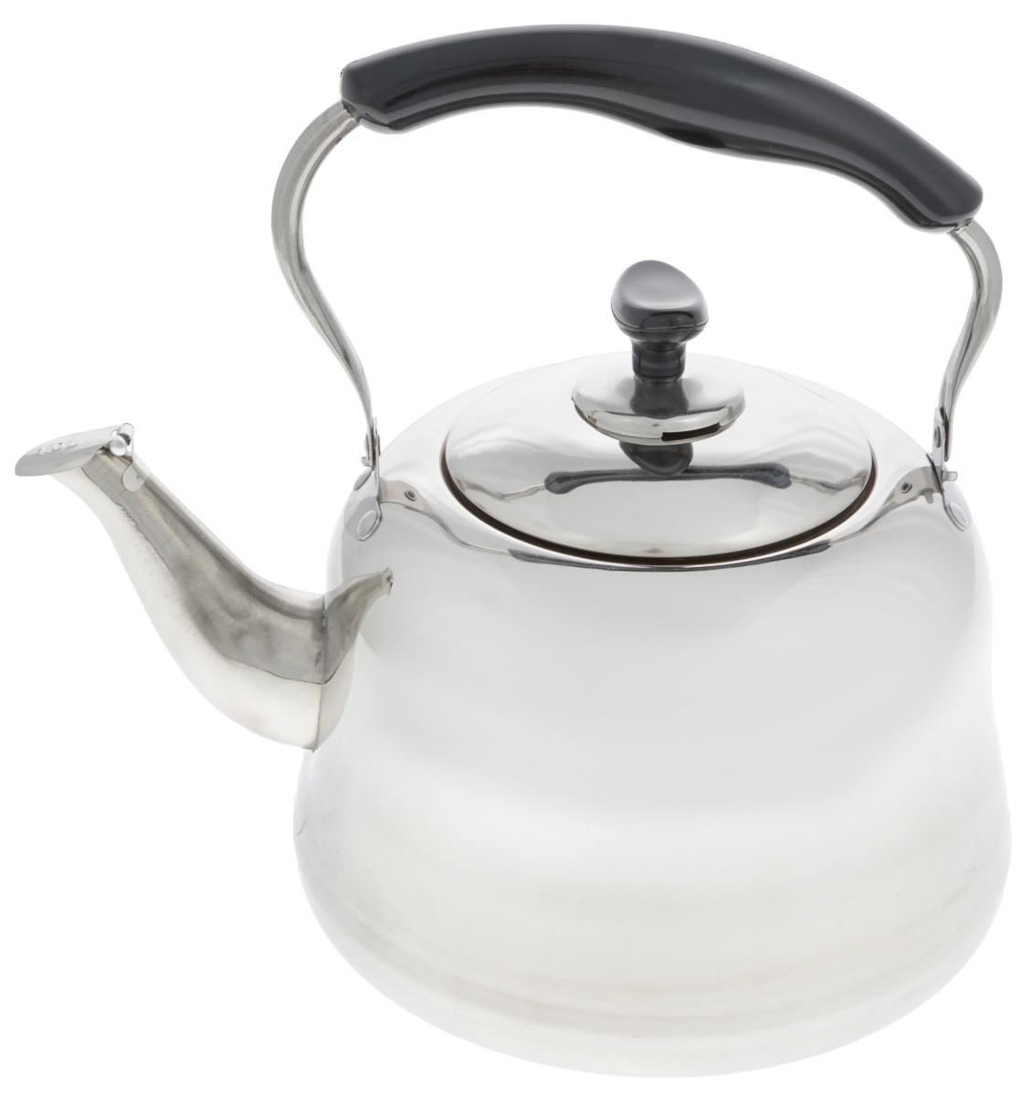 Чайник Mayer & Boch, со свистком, 4 л. 2350723507Чайник Mayer & Boch изготовлен из высококачественной нержавеющей стали. Он оснащен подвижной ручкой из стали с бакелитовой накладкой, что делает использование чайника очень удобным и безопасным. Крышка снабжена свистком, позволяя контролировать процесс подогрева или кипячения воды. Эстетичный и функциональный чайник будет оригинально смотреться в любом интерьере. Подходит для газовых, электрических и стеклокерамических плит. Можно мыть в посудомоечной машине.Высота чайника (без учета ручки и крышки): 15 см.Высота чайника (с учетом ручки и крышки): 28 см.Диаметр чайника (по верхнему краю): 12,5 см.