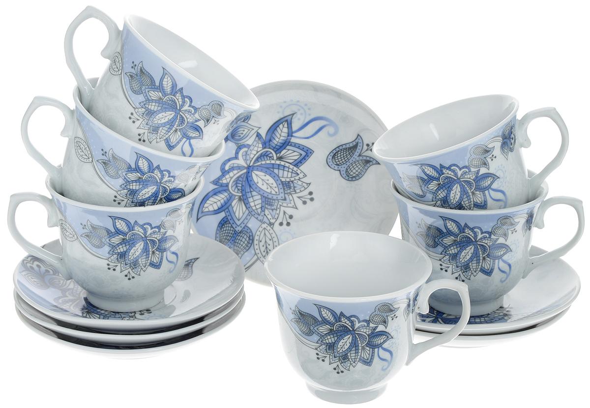 Набор чайный Loraine, 12 предметов. 2578625786Чайный набор Loraine состоит из шести чашек и шести блюдец.Изделия выполнены из высококачественного костяного фарфора иоформлены красивым цветочным рисунком.Такой набор изящно дополнит сервировку стола к чаепитию.Благодаря изысканному дизайну и качеству исполнения, он станетзамечательным подарком для ваших друзей и близких.Набор упакован в подарочную коробку.Объем чашки: 220 мл.Диаметр чашки по верхнему краю: 9 см.Высота чашки: 7,5 см.Диаметр блюдца: 13,2 см. Высота блюдца: 2,2 см.