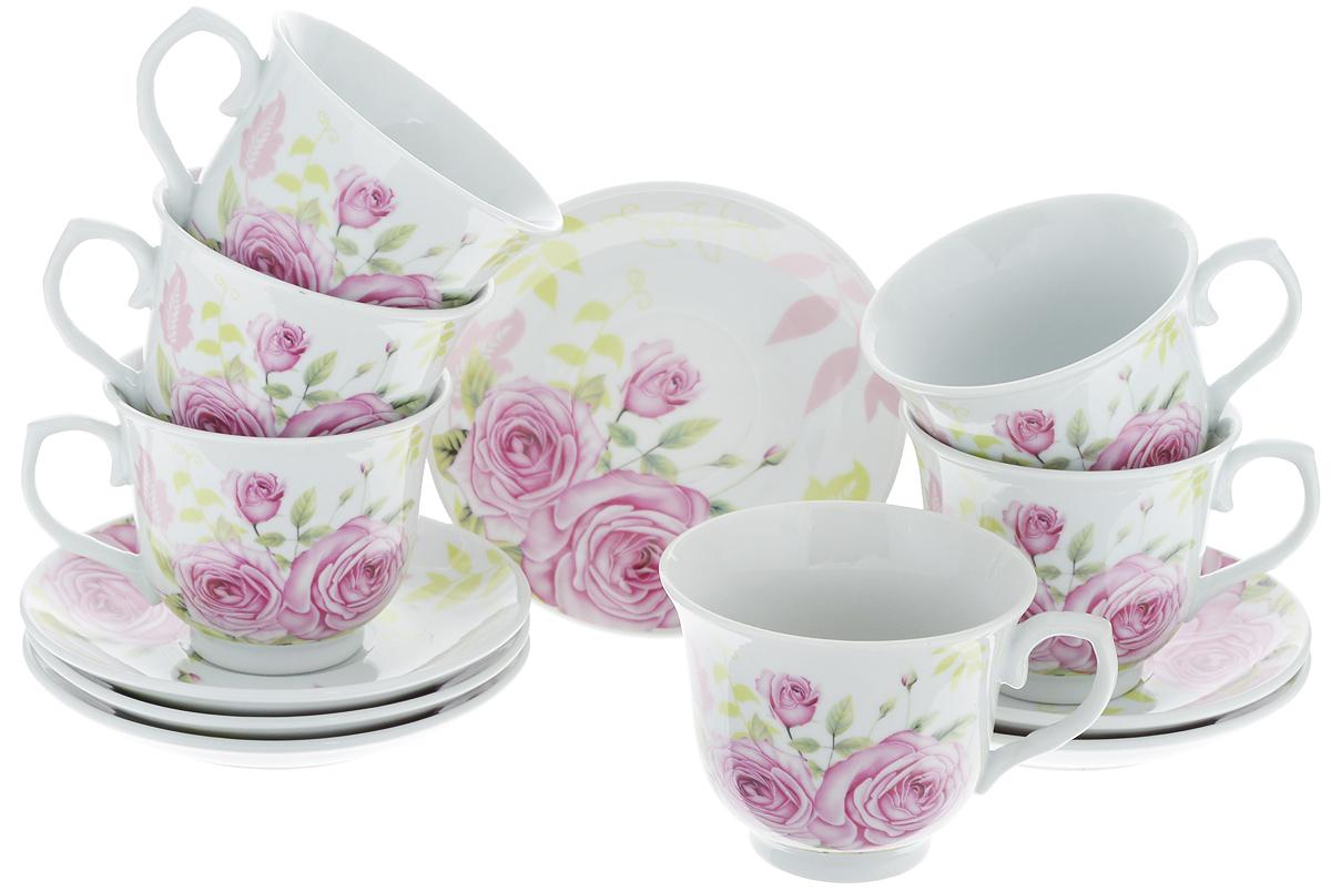 Набор чайный Loraine, 12 предметов. 2578025780Чайный набор Loraine состоит из шести чашек и шести блюдец. Изделия выполнены из высококачественного костяного фарфора и оформлены красивым цветочным рисунком. Такой набор изящно дополнит сервировку стола к чаепитию. Благодаря изысканному дизайну и качеству исполнения, он станет замечательным подарком для ваших друзей и близких. Набор упакован в подарочную коробку. Объем чашки: 220 мл. Диаметр чашки по верхнему краю: 9 см. Высота чашки: 7,5 см. Диаметр блюдца: 13,2 см.Высота блюдца: 2,2 см.