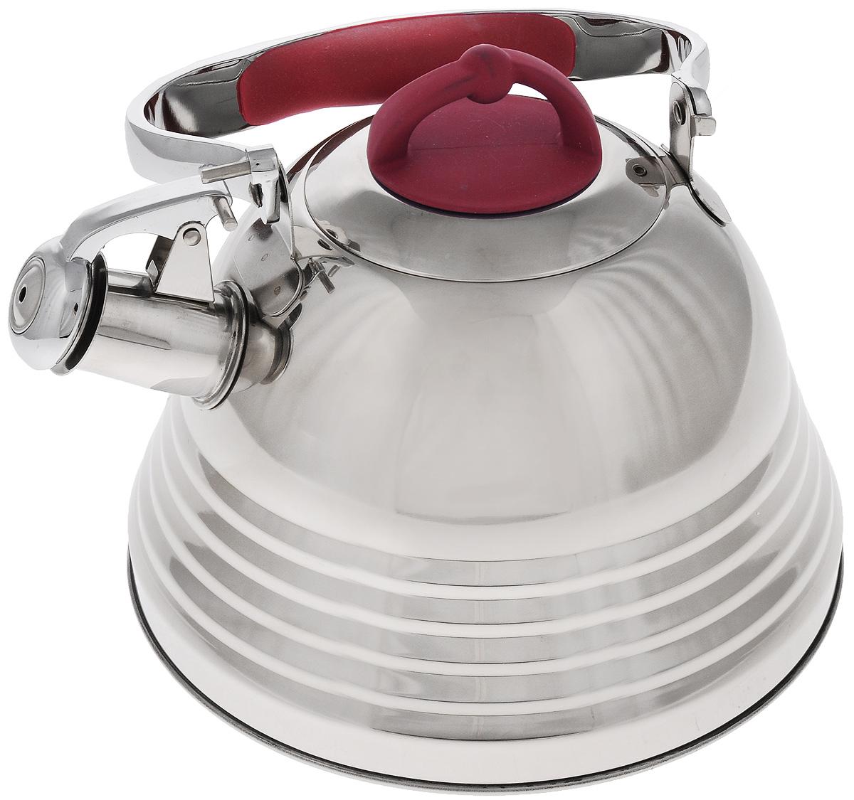 Чайник Mayer & Boch, со свистком, цвет: стальной, красный, 3 л. 2278422784Чайник Mayer & Boch выполнен из высококачественной нержавеющей стали, что обеспечивает долговечность использования. Капсулированное дно с прослойкой из алюминия обеспечивает наилучшее распределение тепла. Носик чайника оснащен насадкой-свистком и устройством для его открывания, что позволит вам контролировать процесс подогрева или кипячения воды. Ручка оснащена силиконовой вставкой для предотвращения ожогов на руках.Можно мыть в посудомоечной машине. Подходит для всех типов плит, включая индукционные.Диаметр чайника (по верхнему краю): 10 см. Высота чайника (без учета крышки и ручки): 13 см. Высота чайника (с учетом крышки и ручки): 24,5 см.