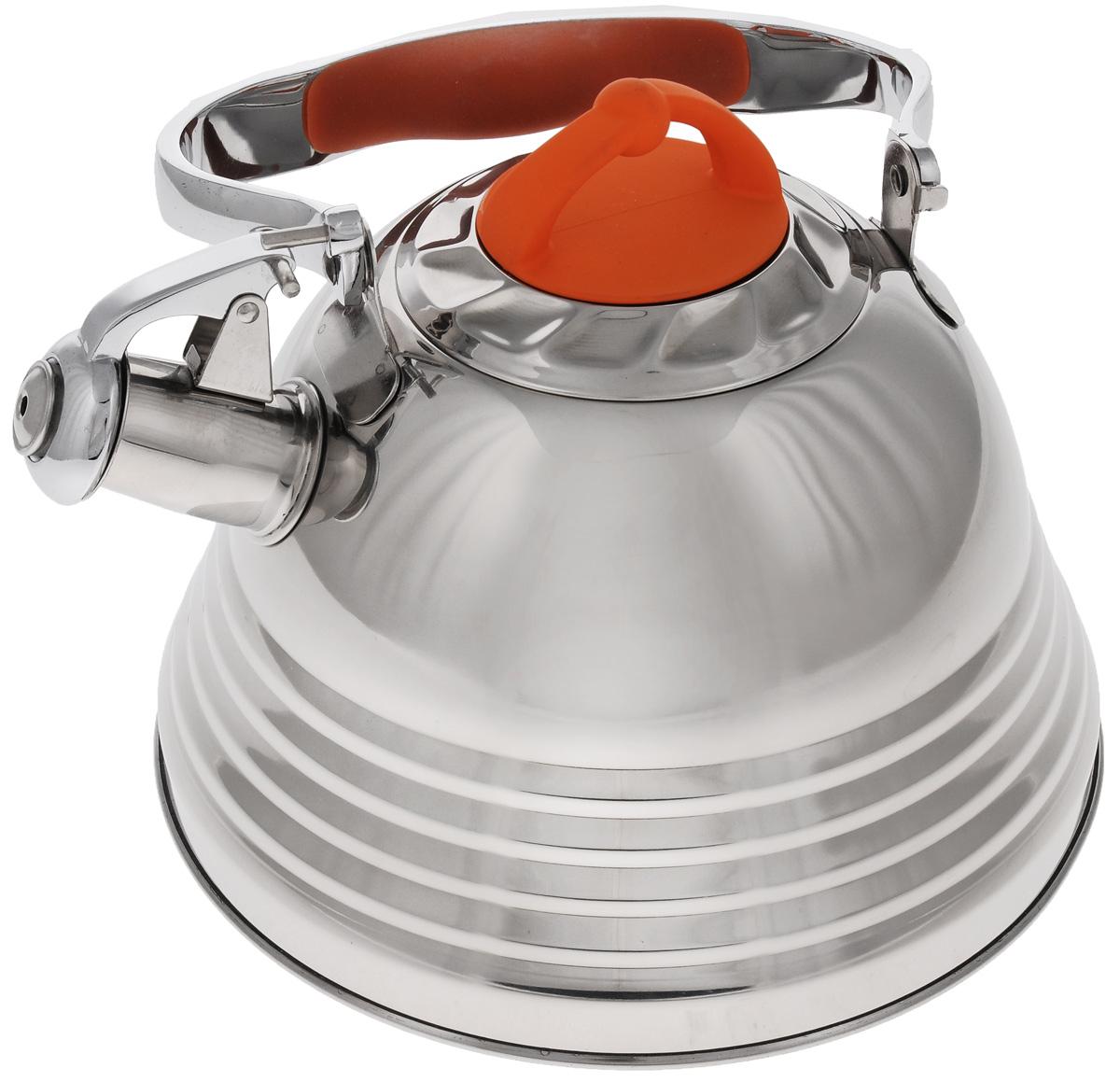 Чайник Mayer & Boch, со свистком, 3 л. 2278622786Чайник Mayer & Boch выполнен из высококачественной нержавеющей стали, что делает его весьма гигиеничным и устойчивым к износу при длительном использовании. Носик чайника оснащен насадкой-свистком, что позволит вам контролировать процесс подогрева или кипячения воды. Ручка, выполненная из стали с бакелитовой вставкой, делает использование чайника очень удобным и безопасным. Поверхность чайника гладкая, что облегчает уход за ним. Эстетичный и функциональный чайник будет оригинально смотреться в любом интерьере.Подходит для газовых, электрических, стеклокерамических и индукционных плит. Можно мыть в посудомоечной машине.Высота чайника (без учета ручки и крышки): 13 см.Высота чайника ( с учетом ручки и крышки): 25 см.Диаметр основания: 22 см.Диаметр индукционного диска: 17,5 см.Диаметр чайника (по верхнему краю): 10 см.
