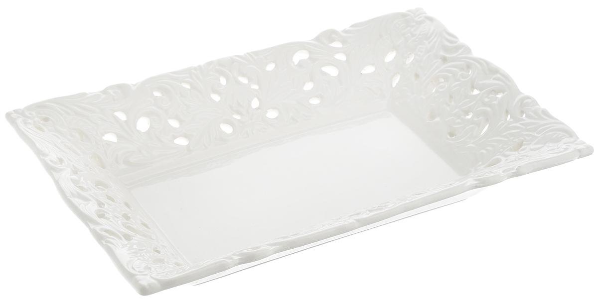 Конфетница Loraine Ажур, цвет: белый, 24 х 16 см салатник nina glass ажур цвет сиреневый диаметр 16 см