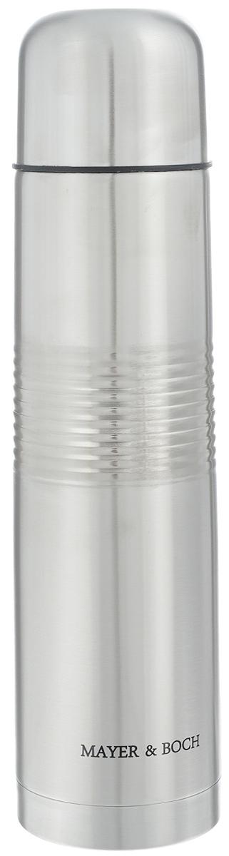 Термос Mayer & Boch, 1 л. 2587925879Термос Mayer & Boch с двойными стенками, выполненный изнержавеющей стали, сохраняет температуру напитка на длительный срок.Вакуумный закручивающийся клапан предохраняет от проливаний, аудобная кнопка-дозатор избавит от необходимости каждый разоткручивать крышку, что экономит вашу энергию и надолго сохраняеттемпературу. Крышку можно использовать как чашку. Стильныйметаллический корпус подойдет абсолютно всем и впишется в любойинтерьер кухни. Можно использовать в холодильнике. Не рекомендуется мыть впосудомоечной машине и на открытом огне.Объем: 1 л. Высота термоса (с учетом крышки): 32 см.Диаметр горлышка: 5 см. Диаметр основания: 8 см. Размер крышки: 7,5 х 7,5 х 6 см.
