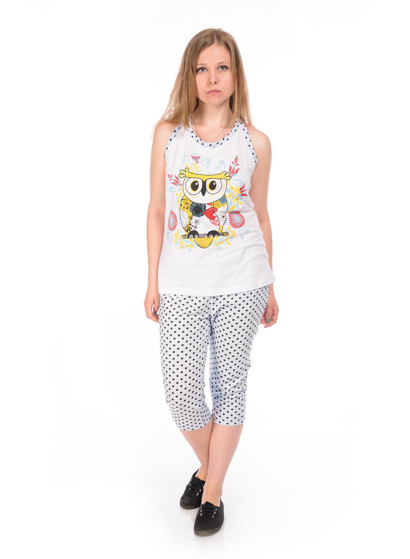 Пижама женская RAV, цвет: белый, светло-голубой, черный. RAV04-009. Размер L (48)