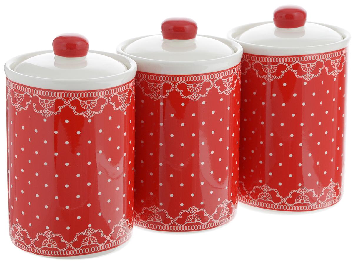 набор банок для сыпучих продуктов loraine красный узор 400 мл 3 шт 25862 Набор банок для сыпучих продуктов Loraine Красный узор, 610 мл, 3 шт. 25823