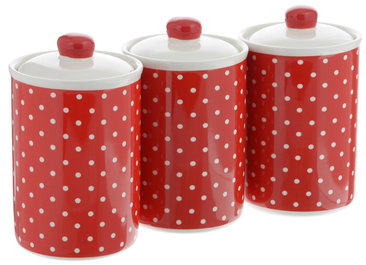набор банок для сыпучих продуктов loraine красный узор 400 мл 3 шт 25862 Набор банок для сыпучих продуктов Loraine Красный узор, 610 мл, 3 шт
