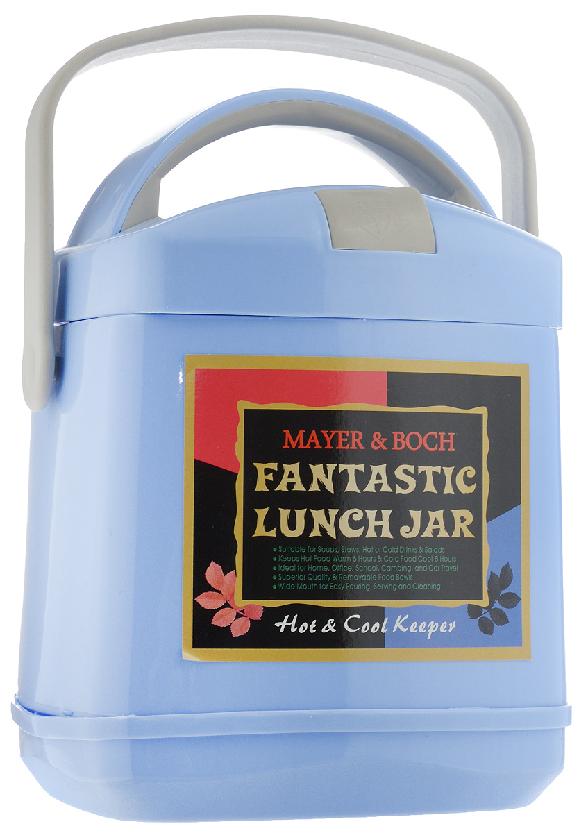 Термос пищевой Mayer & Boch Fantastic Lunch Jar, с контейнером, цвет: голубой, 1,9 л23726Термос пищевой Mayer & Boch Fantastic Lunch Jar предназначен для длительного хранения горячих и холодных блюд. Изделие сохраняет тепло до 6 часов, а холод - до 8. Термос способен сохранять горячую или холодную температуру при температуре окружающей среды не ниже 18°С и температуре жидкости при заполнении не ниже +99+-1°С. Корпус термоса выполнен из цветного пищевого полипропилена (пластика). Внутренняя колба изготовлена из нержавеющей стали - материала, который не вступает в реакцию с продуктами и не искажает вкус приготовленных блюд. Данный термос обладает не только прекрасными термоизоляционными качествами, но и непревзойденной надежностью. Благодаря эргономичной форме и удобным ручкам, его удобно транспортировать. Широкое отверстие позволяет удобно заполнять термос. В наборе также поставляется съемная емкость из нержавеющей стали, а также металлические ложка и вилка, которые хранятся в специальном футляре в крышке термоса. Такой термос идеально подойдет для обедов на работе или отдыха на природе. Диаметр отверстия термоса (по верхнему краю): 14 см. Длина ложки/вилки: 14 см. Диаметр контейнера: 14 см. Высота стенки контейнера: 5 см.