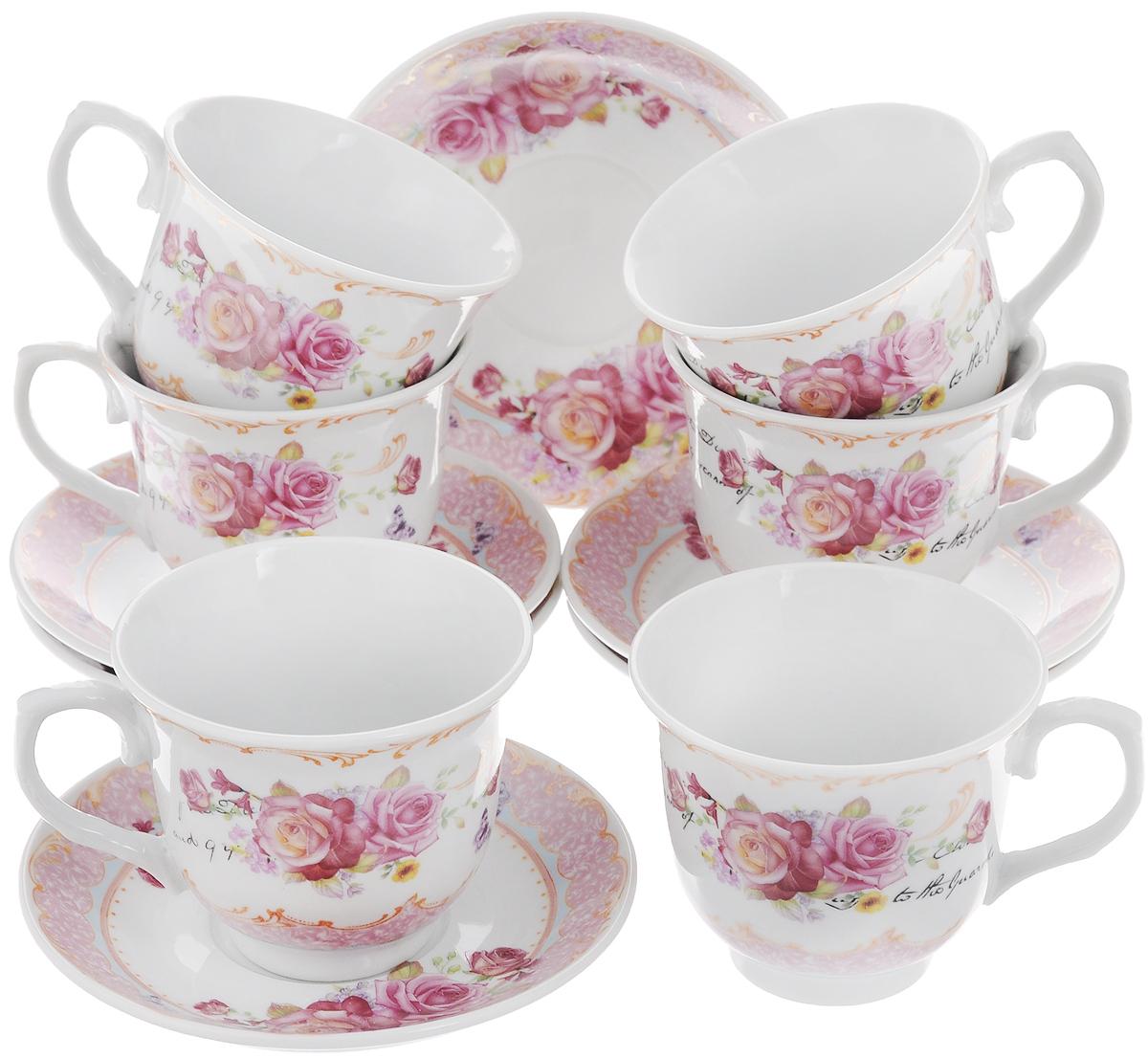 Набор чайный Loraine, 12 предметов. 2578125781Чайный набор Loraine состоит из 6 чашек и 6 блюдец. Изделия выполнены из высококачественного костяного фарфора и оформлены цветочным рисунком. Такой набор дополнит сервировку стола к чаепитию. Благодаря изысканному дизайну и качеству исполнения он станет замечательным подарком для ваших друзей и близких. Набор упакован в подарочную коробку, задрапированную белой атласной тканью. Объем чашки: 220 мл. Диаметр чашки по верхнему краю: 9 см. Высота чашки: 7,5 см. Диаметр блюдца: 13,5 см.Высота блюдца: 2,2 см.