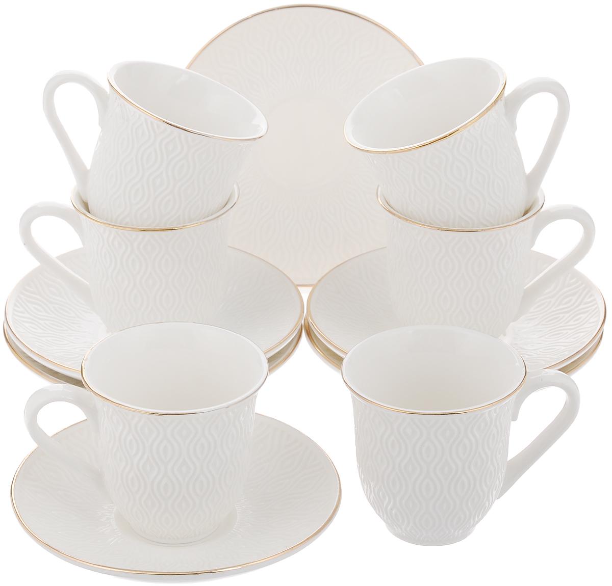 Набор кофейный Loraine, 12 предметов. 2577325773Кофейный набор Loraine состоит из 6 чашек и 6 блюдец. Изделия выполнены из высококачественного костяного фарфора и оформлены золотистой каймой. Такой набор станет прекрасным украшением стола и порадует гостей изысканным дизайном и утонченностью. Набор упакован в подарочную коробку, задрапированную внутри белой атласной тканью. Объем чашки: 90 мл. Диаметр чашки (по верхнему краю): 6,5 см. Высота чашки: 6,5 см. Диаметр блюдца (по верхнему краю): 11,5 см. Высота блюдца: 2 см.