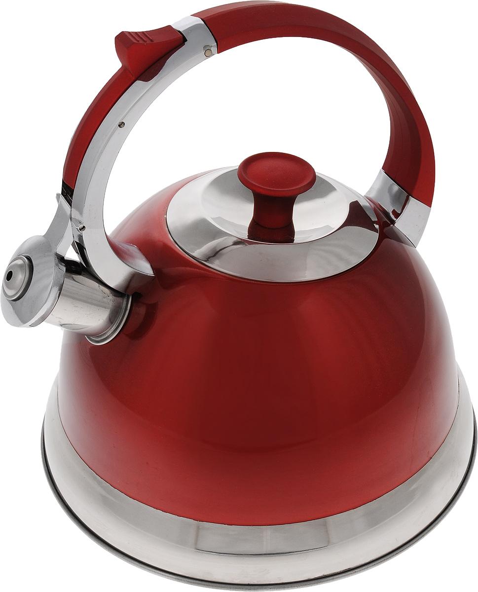 Чайник Mayer & Boch, со свистком, цвет: красный, стальной, 2,7 л. 2316723167Чайник Mayer & Boch изготовлен из высококачественной нержавеющей стали. Внешнее цветное термостойкое покрытие корпуса придает изделию безупречный внешний вид. Изделие оснащено бакелитовой ручкой эргономичной формы с силиконовым покрытием и откидным свистком, который громко оповещает о закипании воды. Эстетичный и функциональный, такой чайник будет оригинально смотреться в любом интерьере. Чайник пригоден для всех типов плит, включая индукционные. Можно мыть в посудомоечной машине.Высота чайника (без учета ручки и крышки): 12,7 см.Высота чайника (с учетом ручки и крышки): 23,5 см.Диаметр чайника (по верхнему краю): 10 см.