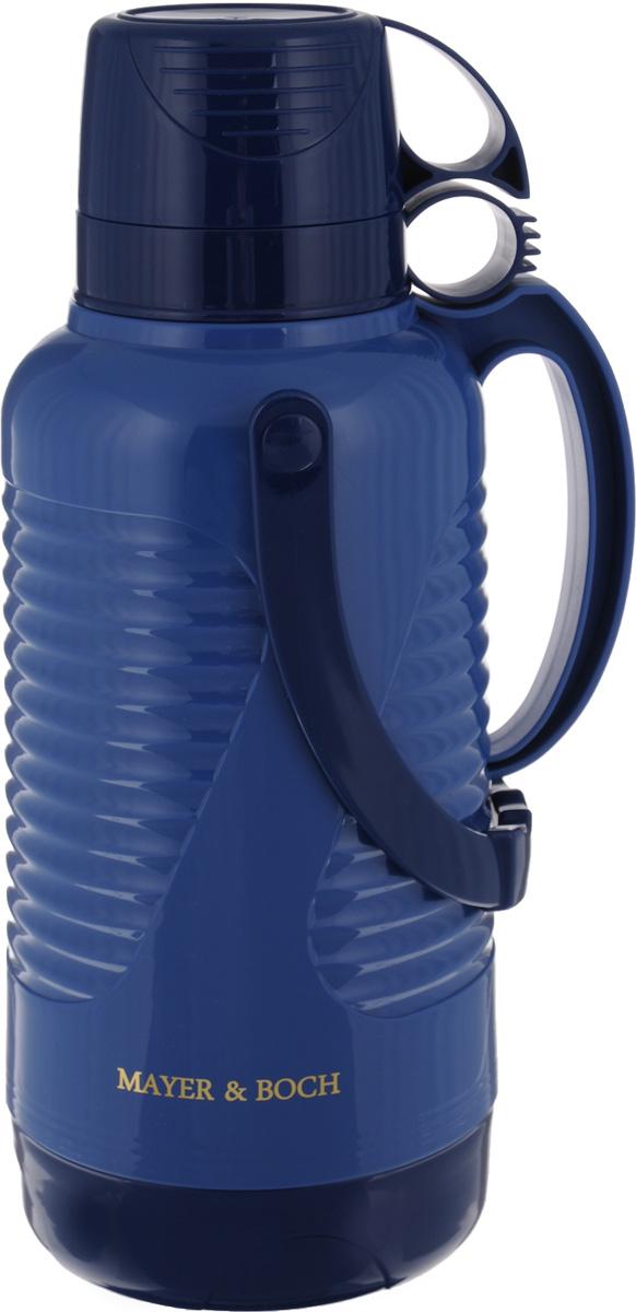 Термос Mayer & Boch, с чашами, цвет: синий, темно-синий, 3,2 л24902Термос Mayer & Boch пригодится в любой ситуации: будь то экстремальный поход, пикник или поездка. Корпус термоса выполнен из полипропилена (пластика). Колба изготовлена из стекла, которое является экологически чистым материалом и прекрасно держит температуру. Ее температурная характеристика ни в чем не уступает стальным колбам, а благодаря свойствам стекла, этот термос может быть использован для заваривания напитков с устойчивыми ароматами. Для удобства переноски предусмотрена подвижная ручка.Завинчивающаяся пробка с силиконовой прослойкой плотно закрывает емкость и предотвращает проливание жидкости. Удобный носик позволит аккуратно налить напиток в съемную чашу, а боковая ручка поможет крепко удерживать термос.В комплекте две чаши. Термос Mayer & Boch - это идеальный вариант для большой компании и дальней поездки. В него поместится большой объем жидкости, и вы в любое время сможете насладиться любимыми напитками. Диаметр малой чаши (по верхнему краю): 10,5 см. Высота малой чаши: 6 см. Диаметр большой чаши (по верхнему краю): 11 см.Высота большой чаши: 8 см. Диаметр основания термоса: 15 см. Высота термоса (с учетом крышки): 41 см.