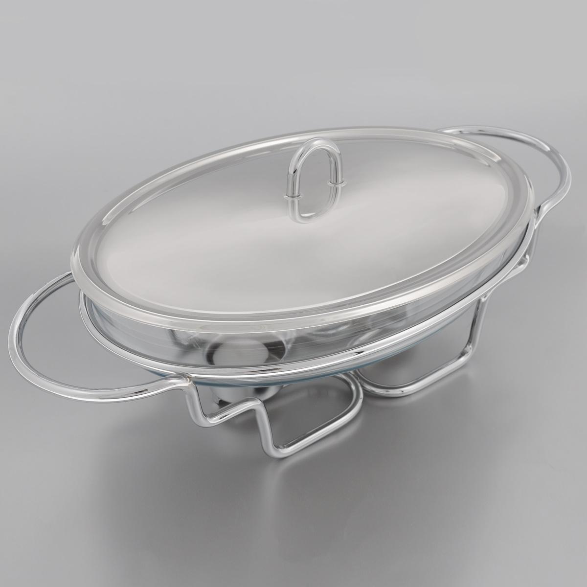 Мармит Mayer & Boch, с подогревом, 2 л20883Мармит Mayer & Boch, изготовленный из стекла и нержавеющей стали, позволит вам довольно длительное время сохранять температуру блюда и создаст романтическую обстановку. Мармит предназначен для приготовления блюд в духовке и микроволновой печи. Благодаря красивому дизайну мармит можно сразу подавать на стол, не перекладывая блюдо на сервировочные тарелки. Его действие основано на принципе водяной бани. Под емкостью установлено 2 свечи (входят в комплект), которые, в свою очередь, нагревают продукты. Таким образом, данное кухонное приспособление - превосходный способ не дать блюду остыть. При этом пища не пригорает, не пересыхает, сохраняет все свои питательные и вкусовые качества. Стеклянное блюдо можно использовать в микроволновой печи и духовке. Можно мыть в посудомоечной машине и ставить в холодильник. Размер блюда (по верхнему краю): 30 х 21 см.Ширина мармита (с учетом ручек): 42 см.Высота мармита: 11 см.Диаметр свечи: 3,7 см.