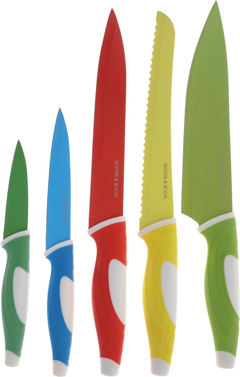 Набор ножей Mayer & Boch, 5 шт. 2488924889Набор Mayer & Boch состоит из поварского ножа,разделочного ножа, универсального ножа, ножа длянарезки хлеба и ножа дляочистки. Лезвия изделий выполнены извысококачественной нержавеющей стали.Эргономичные рукоятки изготовлены изполипропилена и термопластика.Ножи отвечают высоким стандартам качества игигиены. Благодаря прочности и надежности ониидеально подходят для любой кухни.Изделия имеют внешнее покрытие Non-Stick. Не рекомендуется мыть в посудомоечной машине. Длина лезвия поварского ножа: 20,3 см. Общая длина поварского ножа: 33 см. Длина лезвия разделочного ножа: 20,3 см.Общая длина разделочного ножа: 33 см.Длина лезвия ножа для хлеба: 20,3 см. Общая длина ножа для хлеба: 32,5 см. Длина лезвия ножа универсального: 12,7 см.Общая длина ножа универсального: 23,5 см. Длина лезвия ножа для очистки: 8,9 см. Общая длина ножа для очистки: 19,5 см.