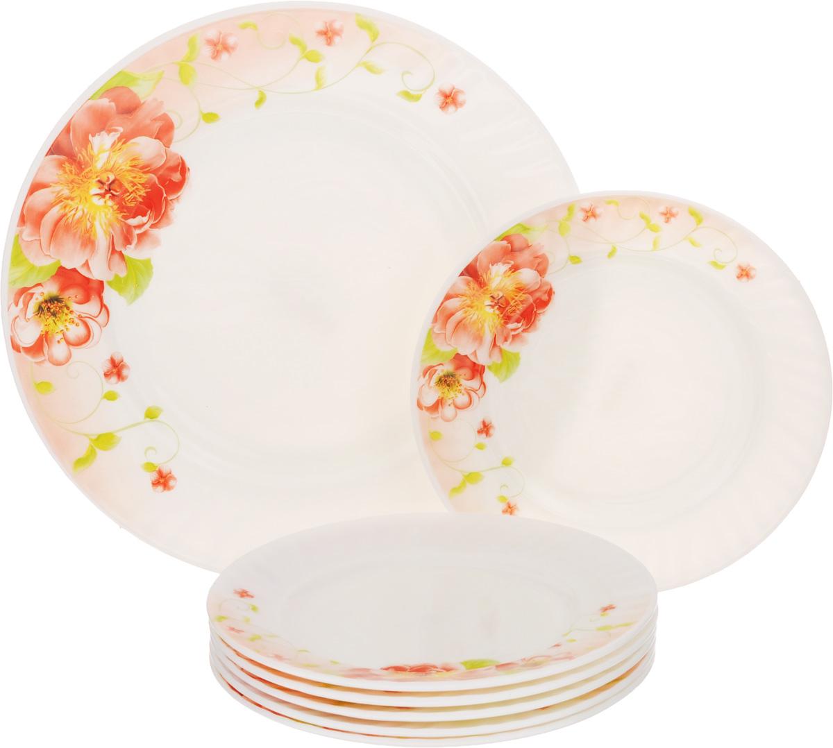 Набор тарелок Loraine, 7 шт23686Набор тарелок Loraine, выполненный из высококачественного стекла, состоит из семи тарелок: одно большое блюдо и шесть десертных тарелок. Изделия украшены изображением цветов, сочетающие в себе изысканный дизайн с максимальной функциональностью. Данный набор предназначен для красивой сервировки различных блюд.Оригинальность оформления придется по вкусу и ценителям классики, и тем, кто предпочитает утонченность и изящность.Можно использовать в холодильной камере и в микроволновой печи. Можно мыть в посудомоечной машине. Диаметр большого блюда: 25 см. Высота большого блюда: 2 см. Диаметр десертных тарелок: 18 см. Высота десертных тарелок: 1,5 см.