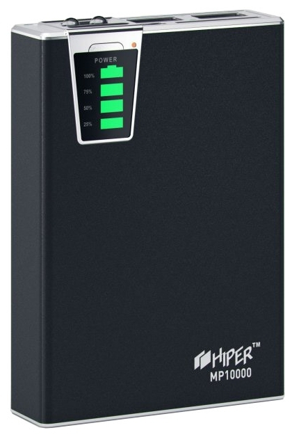 Внешний аккумулятор HIPER Power Bank MP10000, Black (10000 мАч)MP10000 BLACKPower bank HIPER MP10000 Li-Ion 10000mAh 2.1A+1A black
