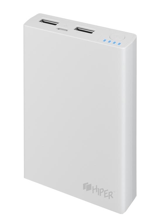 Внешний аккумулятор HIPER Power Bank RP10000, White (10000 мАч)RP10000 WHITEPower bank HIPER RP10000 Li-Ion 10000mAh 2.1A+1A white