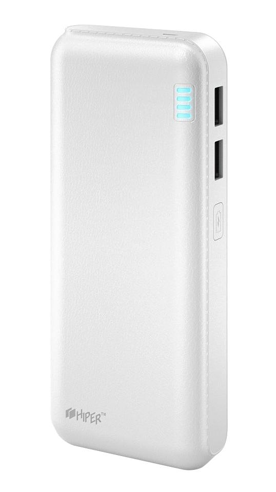 Внешний аккумулятор HIPER Power Bank SP12500, White (12500 мАч)SP12500 WHITEPower bank HIPER SP12500 Li-Ion 12500mAh 2.1A+1A white