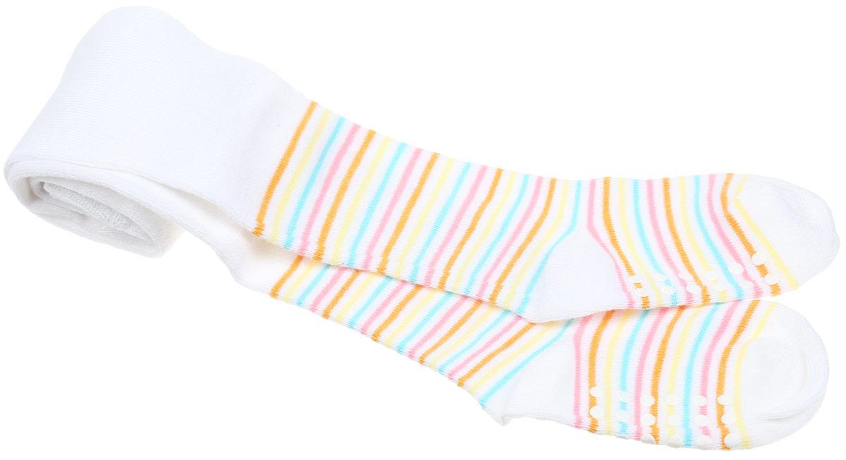Колготки детские Master Socks Sunny Kids, цвет: белый. 81604. Размер 110/11681604Удобные колготки Master Socks Sunny Kids станут отличным дополнением к детскому гардеробу. Высококачественный хлопок в сочетании с бамбуком дарят ощущения мягкости и комфорта. Благодаря пористой структуре волокна, изделие обладает хорошей воздухопроницаемостью, отлично впитывает влагу, не прилипает к коже и быстро сохнет. Колготки хорошо стираются, длительное время сохраняют привлекательный внешний вид.Колготки с плоскими эластичными швами имеют на талии широкую резинку. Усиленные пятка и мысок изделия обеспечивают надежность и долговечность при носке. На стопе модель дополнена прорезиненным рисунком. Оформлены колготки принтом в полоску. В таких колготках ребенку будет удобно и комфортно!