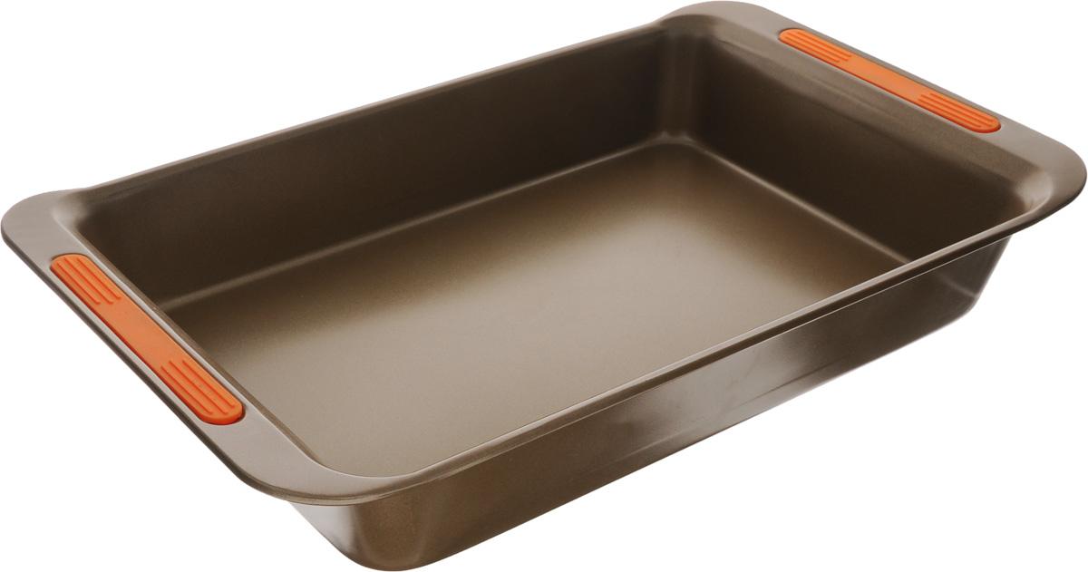 Форма для выпечки Mayer & Boch, с антипригарным покрытием, 41 х 24,8 x 6,4 см24274Форма для выпечки Mayer & Boch Unico изготовлена из углеродистой стали с антипригарным покрытием, благодаря чему пища не пригорает и не прилипает к стенкам посуды. Кроме того, готовить можно с добавлением минимального количества масла и жиров. Антипригарное покрытие также обеспечивает легкость мытья. На ручках имеются силиконовые вставки. Подходит для использования в духовом шкафу. Не подходит для СВЧ-печей. Рекомендуется ручная чистка. Используйте только деревянные и пластиковые лопатки.Размер формы (с учетом ручек): 41 х 24,8 см. Высота стенки: 6,4 см.