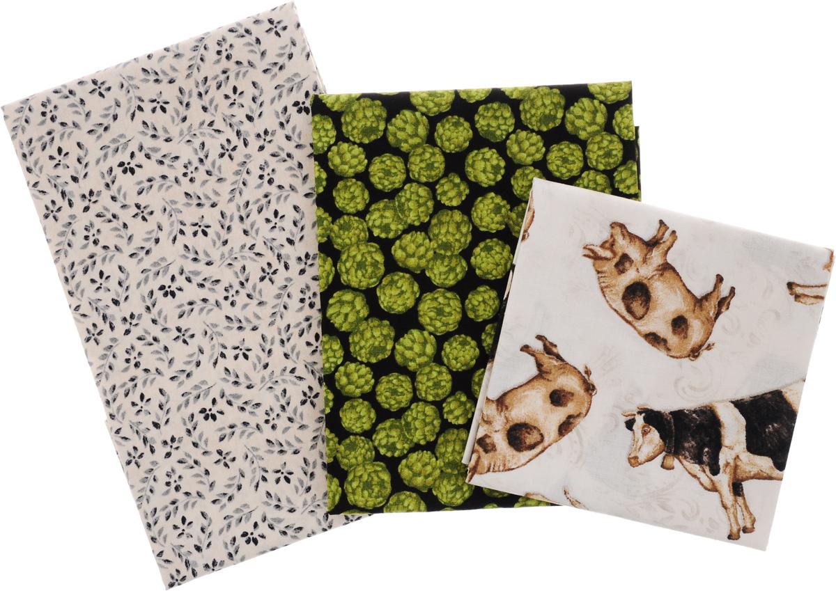 Ткань для пэчворка RTO, 3 отреза, 55 х 55 см. PST-2/11PST-2/11Ткань RTO, изготовленная из 100% хлопка,предназначена для пошива одеял, покрывал, сумок, аппликаций ипрочих изделий в технике пэчворк. Также подходит для пошива кукол, аксессуаров и одежды. Пэчворк - это вид рукоделия, при котором по принципу мозаики сшиваетсяцельное изделие из кусочков ткани (лоскутков).