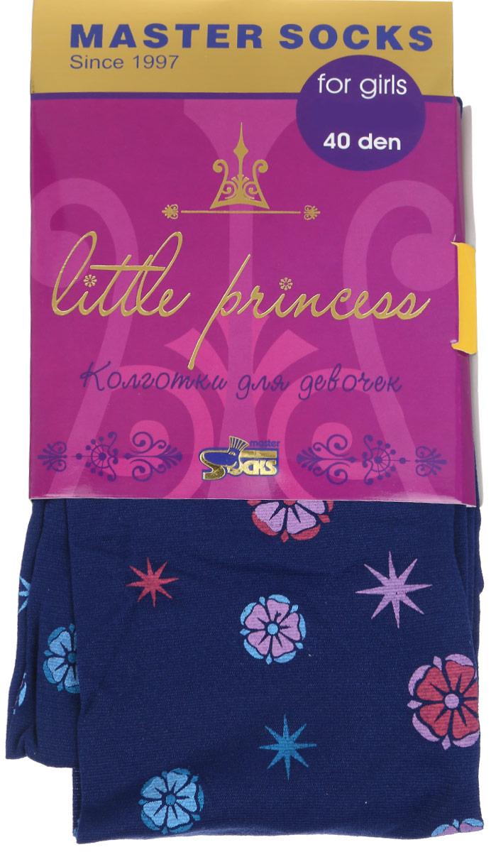 Колготки для девочки Master Socks Little Princess 40, цвет: темно-синий. 81410. Размер 146/15281410Классические детские колготки Master Socks Little Princess 40 изготовлены специально для девочек.Колготки средней плотности с цветочным узором имеют широкую резинку и комфортные мягкие швы. Элегантные и комфортные, эти колготки равномерно облегают ножки, не сдавливая и не доставляя дискомфорта. Эластичные швы и мягкая резинка на поясе не позволят колготам сползать и при этом не будут стеснять движений. Входящие в состав ткани полиамид и эластан предотвращают растяжение и деформацию после стирки. Классические колготки - это идеальное решение на каждый день для прогулки, школы, яслей или садика. Такие колготки станут великолепным дополнением к гардеробу вашей красавицы.