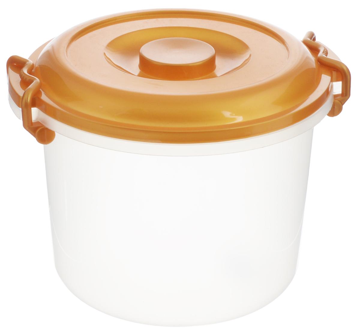Контейнер Альтернатива, цвет: золотистый, прозрачный, 8 лM098_золотистыйКонтейнер Альтернатива изготовлен из высококачественного пищевого пластика. Изделие оснащено крышкой и ручками, которые плотно закрывают контейнер. Также на крышке имеется ручка для удобной переноски. Емкость предназначена для хранения различных бытовых вещей и продуктов.Такой контейнер очень функционален и всегда пригодится на кухне.Диаметр контейнера (по верхнему краю): 25 см. Высота контейнера (без учета крышки): 21 см. Объем: 8 л.