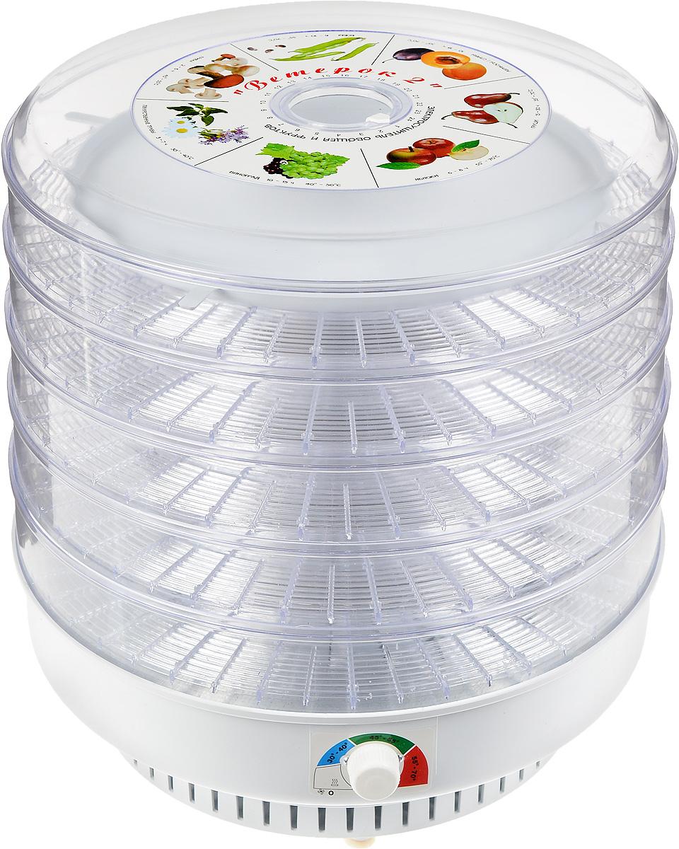 Ветерок-2 сушилка для овощей и фруктов, цвет прозрачныйВетерок-2_5 поддоновЭлектросушитель Ветерок-2 предназначен для высушивания овощей, фруктов, ягод, грибов и лекарственных трав в домашних условиях. Можно также вялить мясо, рыбу, готовить сухари, домашнюю лапшу.