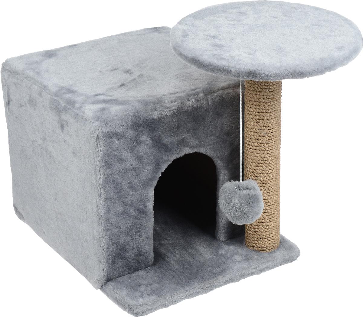 Игровой комплекс для кошек Меридиан, с когтеточкой и домиком, цвет: светло-серый, бежевый, 59 х 45 х 44 смД132 ССИгровой комплекс для кошек Меридиан выполнен из высококачественного ДВП и ДСП и обтянут искусственным мехом. Изделие предназначено для кошек. Ваш домашний питомец будет с удовольствием точить когти о специальный столбик, изготовленный из джута. А отдохнуть он сможет либо на полке, находящейся наверху столбика, либо в расположенном внизу домике. Также на полке имеется подвесная игрушка, которая привлечет внимание кошки к когтеточке.Общий размер: 59 х 45 х 44 см.Диаметр полки: 31 см.Размер домика: 45 х 35 х 32 см.