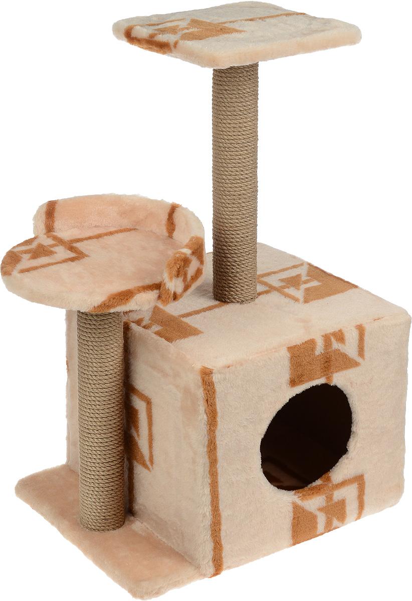 Игровой комплекс для кошек Меридиан, с домиком и когтеточкой, цвет: коричневый, бежевый, 35 х 45 х 75 смД130 ГИгровой комплекс для кошек Меридиан выполнен из высококачественного ДВП и ДСП и обтянут искусственным мехом. Изделие предназначено для кошек. Ваш домашний питомец будет с удовольствием точить когти о специальные столбики, изготовленные из джута. А отдохнуть он сможет либо на полках разной высоты, либо в расположенном внизу домике.Общий размер: 35 х 45 х 75 см.Размер домика: 46 х 37 х 33 см.Высота полок (от пола): 74 см, 45 см.Размер полок: 27 х 27 см, 26 х 26 см.