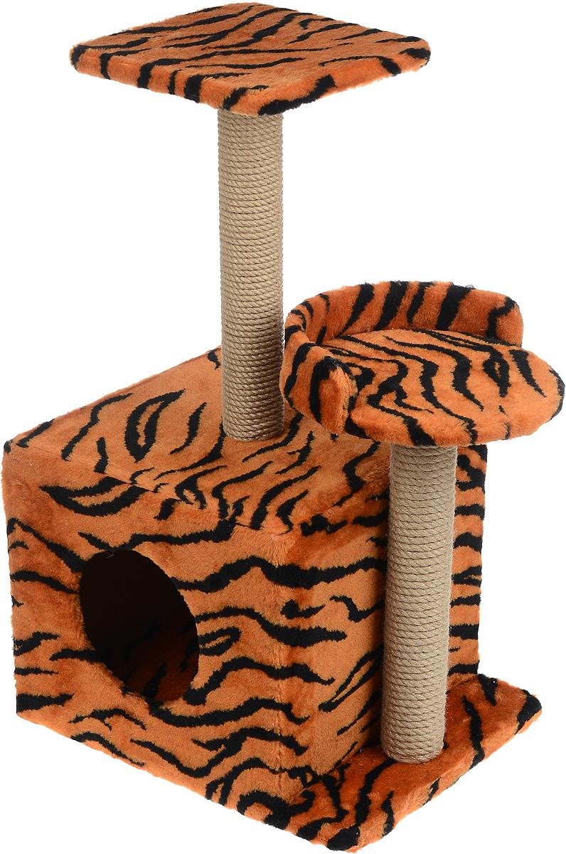 Игровой комплекс для кошек Меридиан, с домиком и когтеточкой, цвет: оранжевый, черный, бежевый, 35 х 45 х 75 смД130 ТИгровой комплекс для кошек Меридиан выполнен из высококачественного ДВП и ДСП и обтянут искусственным мехом. Изделие предназначено для кошек. Ваш домашний питомец будет с удовольствием точить когти о специальные столбики, изготовленные из джута. А отдохнуть он сможет либо на полках разной высоты, либо в расположенном внизу домике.Общий размер: 35 х 45 х 75 см.Размер домика: 46 х 37 х 33 см.Высота полок (от пола): 74 см, 45 см.Размер полок: 27 х 27 см, 26 х 26 см.