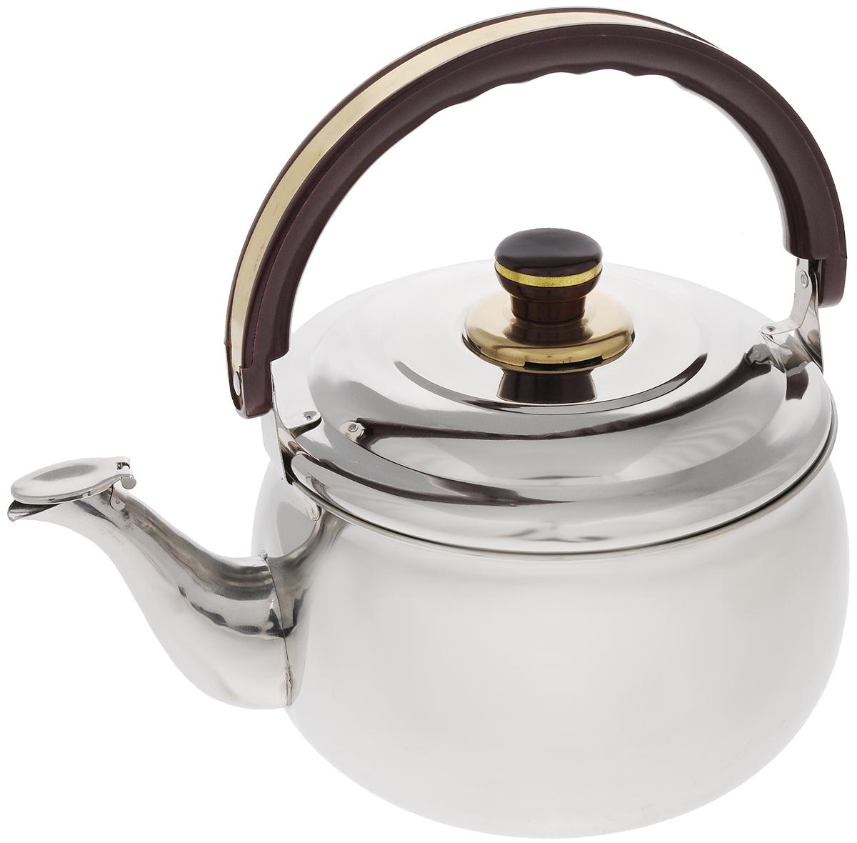 Чайник Mayer & Boch, со свистком, 5 л. 77587758Чайник Mayer & Boch изготовлен из высококачественной нержавеющей стали с зеркальнойполировкой. Крышка чайника оснащена свистком, что позволит контролировать процессподогрева или кипячения воды. Подвижная бакелитовая ручка имеет эргономичную форму,обеспечивая дополнительное удобство при разлитии напитка. Широкое верхнее отверстиепозволит удобно налить воду.Чайник подходит для электрических, газовых, стеклокерамическихи индукционных плит. Можно мыть впосудомоечной машине. Диаметр чайника по верхнему краю: 20,5 см.Диаметр основания: 16,5 см.Высота чайника (без учета ручки и крышки): 13,5 см.Высота чайника (с учетом ручки и крышки): 28,5 см.
