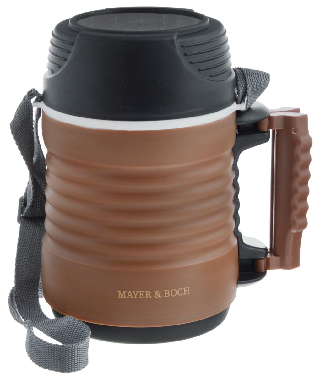 Термос пищевой Mayer & Boch, с 2 контейнерами, цвет: коричневый, черный, 1,3 л23733Термос пищевой Mayer & Boch предназначен для длительного хранения горячих и холодных блюд. Цветной корпус выполнен из пищевого полипропилена (пластика). Внутренний резервуар изготовлен из высококачественной нержавеющей стали, не вступающей в реакцию с продуктами и не искажающей вкус приготовленных блюд. В широкое горлышко термоса помещены два контейнера с крышками, изготовленные из пищевого пластика белого цвета. Крышки легко открываются и плотно закрываются. Это идеальный вариант для переноски сразу нескольких разных блюд.Благодаря текстильному ремню и боковой ручке, термос легко и удобно транспортировать. Данный термос обладает не только прекрасными термоизоляционными качествами, но и непревзойденной надежностью. Диаметр горлышка термоса: 11 см. Высота термоса (с учетом крышки): 21,5 см. Диаметр контейнеров: 10 см. Высота контейнеров: 5 см, 9,5 см.