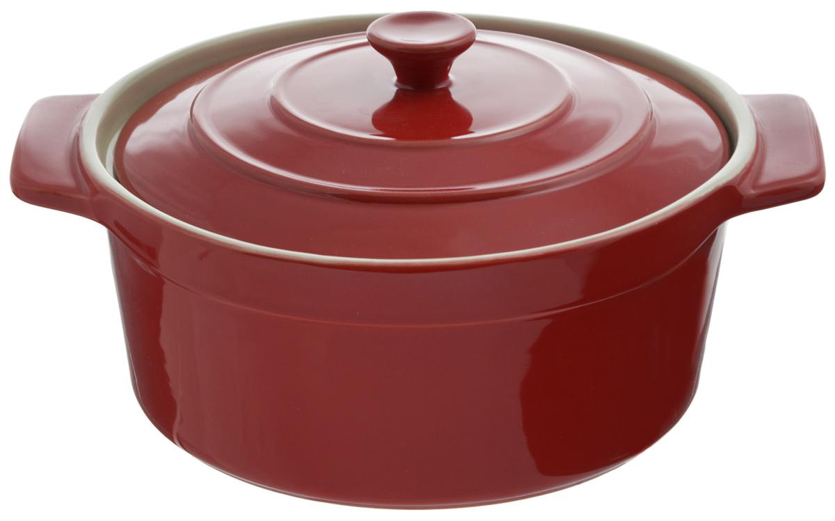 Жаровня Mayer & Boch с крышкой, цвет: бордовый, 2 л. 21786