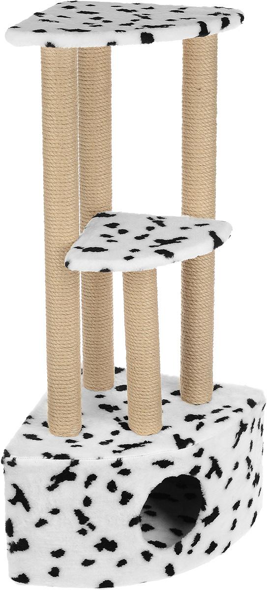 Игровой комплекс для кошек Меридиан, 3-ярусный, угловой, с домиком и когтеточкой, цвет: белый, черный, бежевый, 42 х 42 х 110 см цена