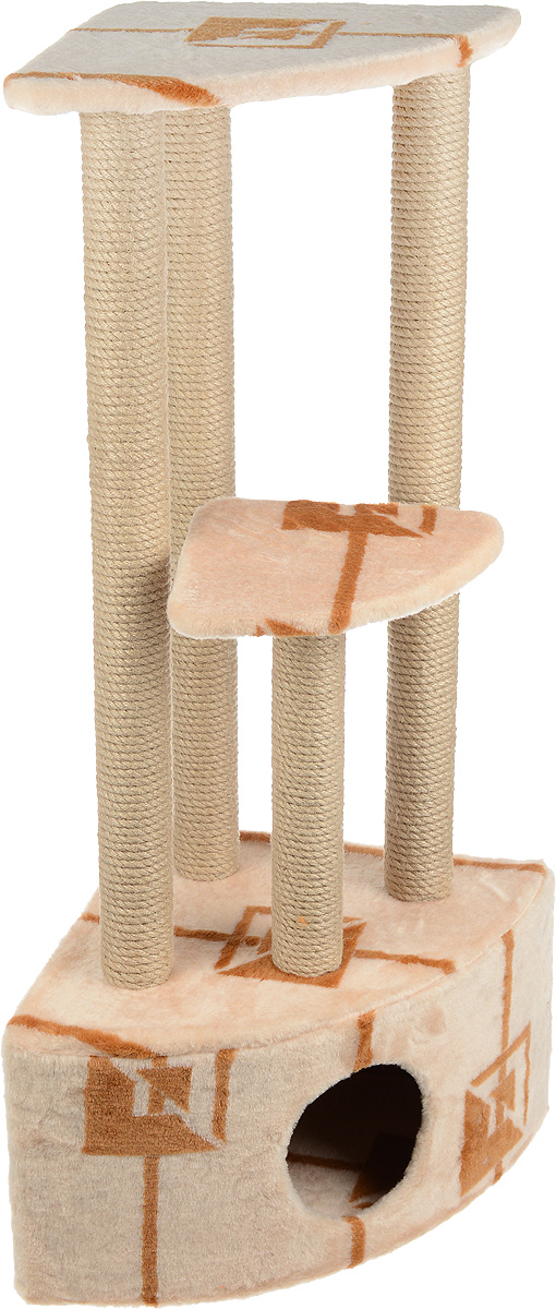 Игровой комплекс для кошек Меридиан, 3-ярусный, угловой, с домиком и когтеточкой, цвет: коричневый, бежевый, 42 х 42 х 110 смД436 ГИгровой комплекс для кошек Меридиан выполнен из высококачественного ДВП и ДСП и обтянут искусственным мехом. Изделие предназначено для кошек. Комплекс имеет 3 яруса. Ваш домашний питомец будет с удовольствием точить когти о специальные столбики, изготовленные из джута. А отдохнуть он сможет либо на полках, либо в расположенном внизу домике.Общий размер: 42 х 42 х 110 см.Размер домика: 42 х 42 х 28 см.Размер большой полки: 35 х 35 см.Размер малой полки: 26 х 26 см.