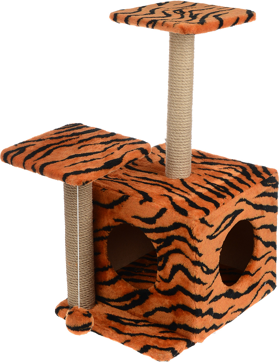 Игровой комплекс для кошек Меридиан, с домиком и когтеточкой, цвет: оранжевый, черный, бежевый, 45 х 47 х 75 смД131 ТИгровой комплекс для кошек Меридиан выполнен из высококачественного ДВП и ДСП и обтянут искусственным мехом. Изделие предназначено для кошек. Ваш домашний питомец будет с удовольствием точить когти о специальный столбик, изготовленный из джута. А отдохнуть он сможет либо на полках разной высоты, либо в расположенном внизу домике. Также комплекс оснащен подвесной игрушкой, которая привлечет вашего питомца.Общий размер: 45 х 47 х 75 см.Размер домика: 45 х 36 х 32 см.Высота полок (от пола): 75 см, 45 см.Размер полок: 26 х 26 см.