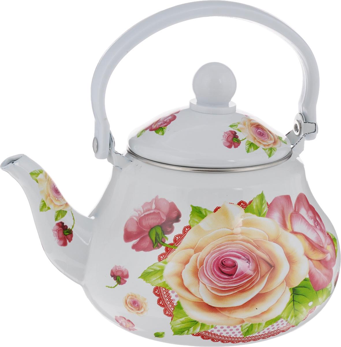 Чайник заварочный Mayer & Boch Розы, с ситечком, 1,5 л. 2398623986Чайник заварочный Mayer & Boch изготовлен из высококачественной углеродистой стали с эмалированным покрытием. Такой чайник гигиеничен и устойчив к износу при длительном использовании. Корпус чайника оформлен ярким цветочным рисунком. Чайник оснащен металлическим ситечком, который не позволит чаинкам попасть в чашку, при этом сохранит букет и насыщенность чая. Изделие подходит для всех видов плит, включая индукционные. Можно мыть в посудомоечной машине. Высота чайника (без учета ручки и крышки): 11,5 см.Высота чайника (с учетом ручки и крышки): 21 см.Диаметр индукционного дна: 9 см. Диаметр (по верхнему краю): 10 см.
