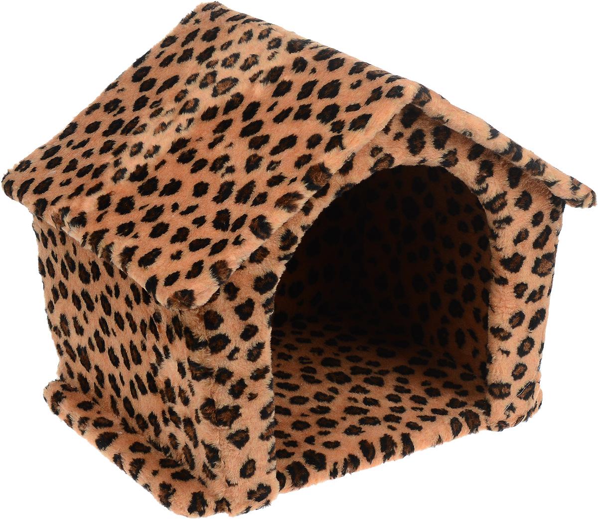 Игровой комплекс для кошек Меридиан Изба, с домиком, цвет: коричневый, черный, бежевый, 49 х 36 х 40 см
