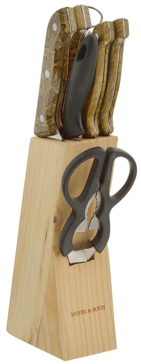 Набор ножей Mayer & Boch, 8 предметов. 636636Набор ножей Mayer & Boch состоит из поварского ножа, ножа хлебного, ножа для выемки костей, универсального ножа, ножа для очистки, ножниц, точилки и подставки. Ножи выполнены из высококачественной нержавеющей стали. Специальный дизайн ручек, изготовленных из пластика с рисунком под змею, обеспечивает безопасную работу и комфортное положение в руке. Подставка для ножей из дерева (сосна) сэкономит место на рабочем столе. В набор также входит точилка, благодаря которой ваши ножи всегда будут заточены, а резка будет доставлять только удовольствие. Такой набор станет для вас отличным помощником при нарезке овощей, фруктов и мяса. Рекомендуется мыть вручную. Длина лезвия поварского ножа: 15,2 см. Общая длина поварского ножа: 29 см. Длина лезвия хлебного ножа: 17,8 см. Общая длина хлебного ножа: 29 см. Длина лезвия ножа для выемки костей: 13,3 см. Общая длина ножа для выемки костей: 24 см. Длина лезвия универсального ножа: 11,4 см. Общая длина универсального ножа: 22 см. Длина лезвия ножа для чистки: 8,9 см. Общая длина ножа для очистки: 18,5 см. Длина ножниц: 20,5 см. Длина рабочей поверхности точилки: 19 см. Общая длина точилки: 29 см.Размер подставки: 6 х 10,5 х 20 см.