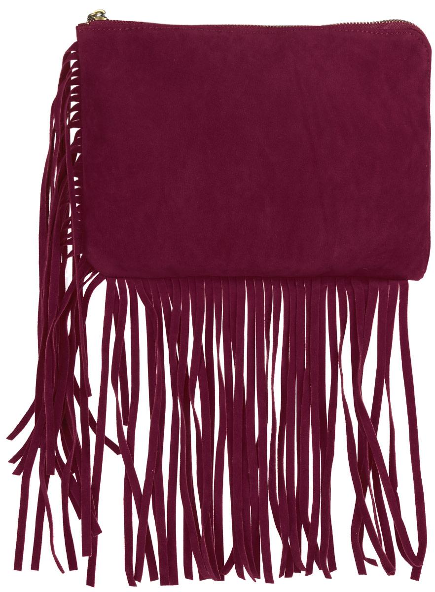 Сумка женская Top Secret, цвет: вишневый. SBG0881CESBG0881CEСтильная и модная женская сумка Top Secret, выполненная из полиэстера с эффектом замши, оформлена по краям удлинённой бахромой. Изделие имеет одно основное отделение, закрывающееся на металлическую застежку-молнию. Внутри находятся прорезной карман на застежке-молнии и один нашивной карман для телефона и мелочей. Модель оснащена съёмным ремнем для запястья. Оригинальная сумка дополнит ваш образ и подчеркнет ваше отменное чувство стиля.