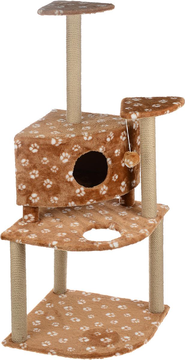 Игровой комплекс для кошек Меридиан, с домиком и когтеточкой, цвет: коричневый, белый, бежевый, 55 х 53 х 150 смД441 ЛаИгровой комплекс для кошек Меридиан выполнен из высококачественного ДВП и ДСП и обтянут искусственным мехом. Изделие предназначено для кошек. Комплекс имеет 3 яруса. Ваш домашний питомец будет с удовольствием точить когти о специальные столбики, изготовленные из джута. А отдохнуть он сможет либо на полках, либо в домике. На одной из полок расположена игрушка, которая еще сильнее привлечет внимание питомца.Общий размер: 55 х 53 х 150 см.Размер домика: 42 х 42 х 31 см.Размер полок: 26 х 26 см.Размер нижнего яруса: 55 х 53 см.