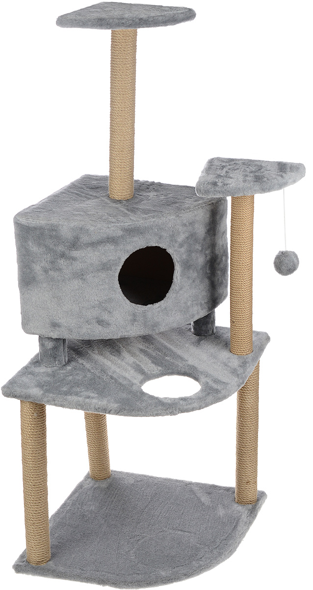Игровой комплекс для кошек Меридиан, с домиком и когтеточкой, цвет: светло-серый, бежевый, 55 х 55 х 140 смД441 ССИгровой комплекс для кошек Меридиан выполнен из высококачественного ДВП и ДСП и обтянут искусственным мехом. Изделие предназначено для кошек. Комплекс имеет 3 яруса. Ваш домашний питомец будет с удовольствием точить когти о специальные столбики, изготовленные из джута. А отдохнуть он сможет либо на полках, либо в домике. На одной из полок расположена игрушка, которая еще сильнее привлечет внимание питомца.Общий размер: 55 х 55 х 140 см.Размер домика: 42 х 42 х 31 см.Размер полок: 26 х 26 см.Размер нижнего яруса: 55 х 55 см.