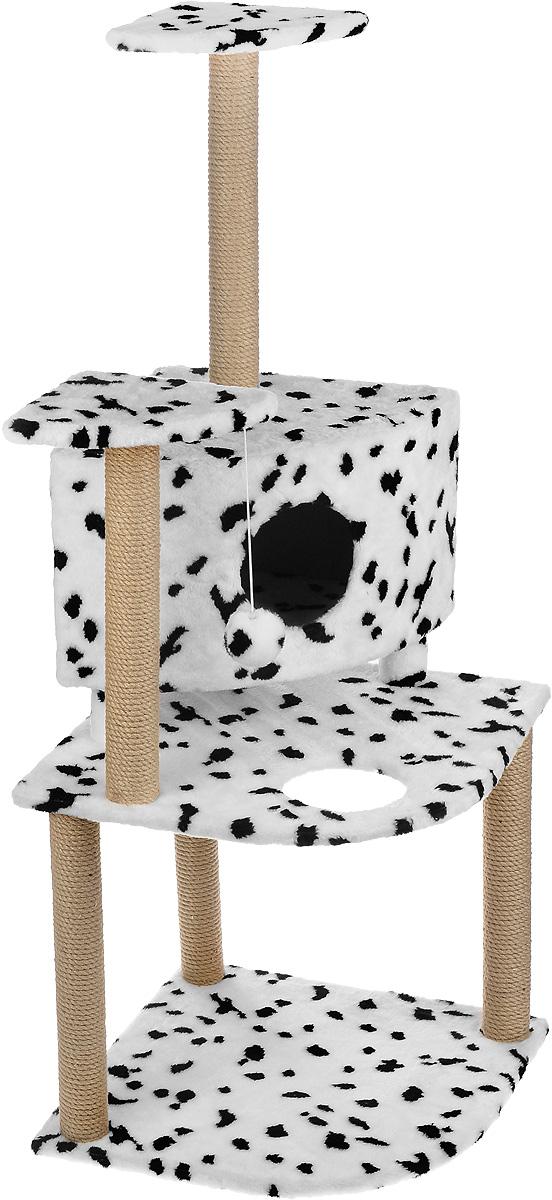 Игровой комплекс для кошек Меридиан, с домиком и когтеточкой, цвет: белый, черный, бежевый, 55 х 53 х 150 смД441 ДИгровой комплекс для кошек Меридиан выполнен из высококачественного ДВП и ДСП и обтянут искусственным мехом. Изделие предназначено для кошек. Комплекс имеет 3 яруса. Ваш домашний питомец будет с удовольствием точить когти о специальные столбики, изготовленные из джута. А отдохнуть он сможет либо на полках, либо в домике. На одной из полок расположена игрушка, которая еще сильнее привлечет внимание питомца.Общий размер: 55 х 53 х 150 см.Размер домика: 42 х 42 х 31 см.Размер полок: 26 х 26 см.Размер нижнего яруса: 55 х 53 см.